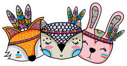 Cute Animals Head Friends With Feathers Tribal Sticker