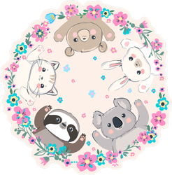 Cute Animals in Flower Ring Sticker