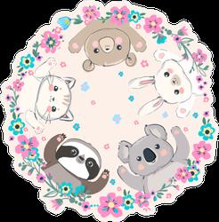 Cute Animals in Flower Ring Sticker