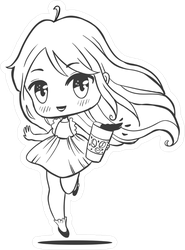 Cute Anime Girl With Big Eyes And Coffee Sticker