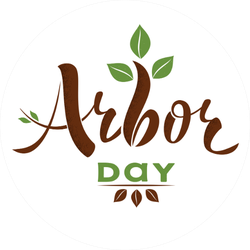 Cute Arbor Day Calligraphy Sticker