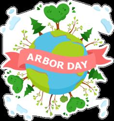 Cute Arbor Day Globe Sticker