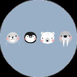 Cute Arctic Animals Illustration With Penguin Sticker