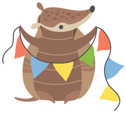 Cute Armadillo Holding Party Flags Sticker