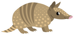 Cute Armadillo Smiling Cheerful With Pink Nose Sticker