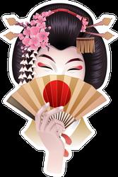 Cute Asian Girl Hiding Her Face With Fan Sticker