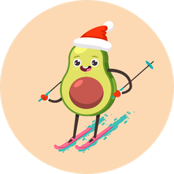Cute Avocado Cartoon Character Skiing Sticker