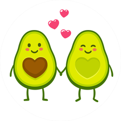 Cute Avocado Couple Holding Hands Sticker