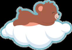 Cute Baby Bear Cub Sleeping On A Cloud Sticker