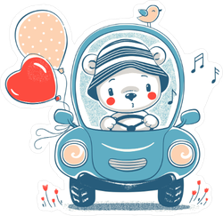 Cute Baby Bear Driving Sticker