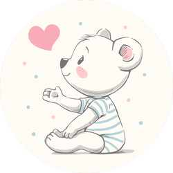Cute Baby Bear With Heart Sticker