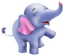 Cute Baby Elephant Cartoon Sticker