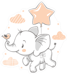 Cute Baby Elephant Flying on a Star Balloon Sticker