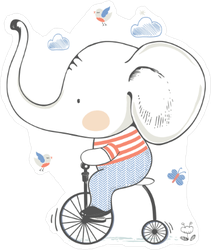 Cute Baby Elephant On Bicycle Sticker