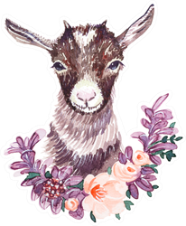Cute Baby Goat With A Floral Wreath Sticker
