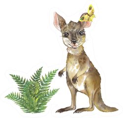 Cute Baby Kangaroo With Plant Watercolor Illustration Sticker