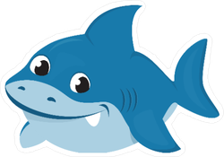 Cute Baby Shark Cartoon Sticker