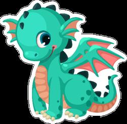 Cute Baby Teal Dragon Cartoon Sticker