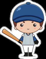 Cute Baseball Mascot Character With Bat Sticker