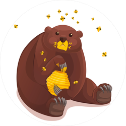 Cute Bear Caught Eating Honey Sticker
