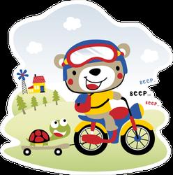 Cute Bear Driving Motorcycle Kids Sticker