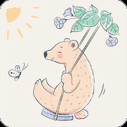 Cute Bear In Swing Cartoon Sticker