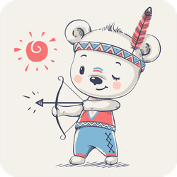 Cute Bear Indian With A Bow Sticker