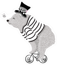 Cute Bear Riding Tiny Bike Sticker