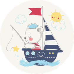 Cute Bear Sailor Fishing On A Ship Sticker
