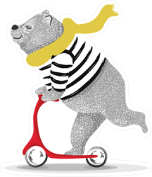 Cute Bear Scooter Sticker