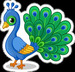 Cute Beautiful Blue Peacock Cartoon Sticker