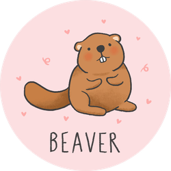 Cute Beaver Cartoon On Pink Sticker