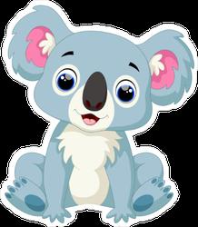 Cute Blue Koala Cartoon Sticker