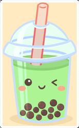 Cute Boba Bubble Green Tea Sticker