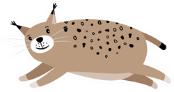 Cute Bobcat Jumping Sticker