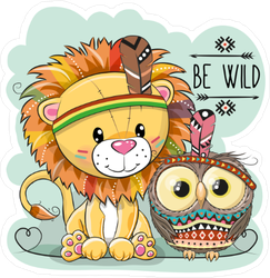 Cute Boho Lion and Owl Sticker