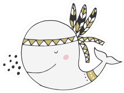 Cute Boho Whale Sticker