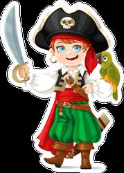 Cute Boy Dressed As Pirate Sticker