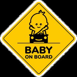 Cute Boy in Car Baby on Board Sticker