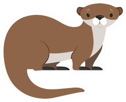 Cute Brown Otter Funny Animal Sticker