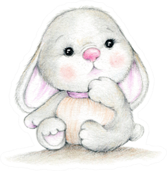 Cute Bunny Baby Illustration Sticker