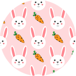 Cute Bunny Rabbit With Carrot Pattern Sticker