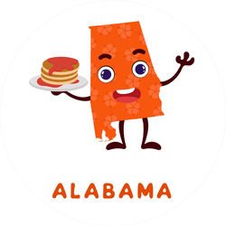 Cute Cartoon Alabama State Character With Pancakes Sticker