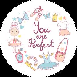 Cute Cartoon Ballet Circle Sticker