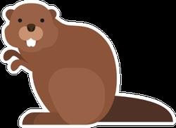 Cute Cartoon Beaver Sticker