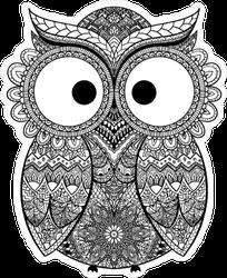 Cute Cartoon Boho Owl with Big Eyes Sticker