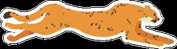 Cute Cartoon Cheetah Illustration Sticker