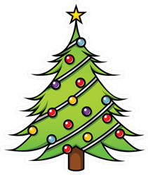 Cute Cartoon Christmas Tree Sticker