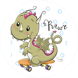 Cute Cartoon Dragon on Skateboard Sticker