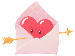Cute Cartoon Envelope With Heart And Arrow Sticker